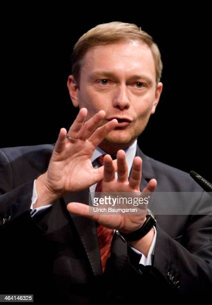 Christian Lindner chairman of the FDP federal party during his speech at the FDP Europa Congress in Bonn on January 19 2014 in Bonn Germany