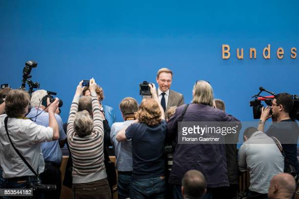 Christian Lindner Federal Chairman of the Free Democratic Party is pictured before a press conference the day after the election on September 25 2017...