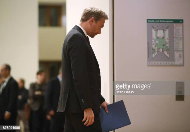 Christian Lindner head of the Free Democratic Party attends preliminary coalition talks at the BadenWuerttemberg state representation on November 19...