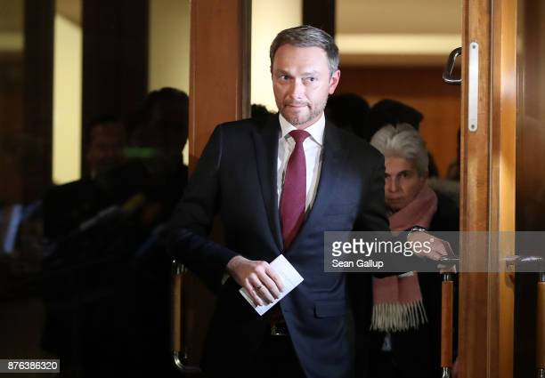Christian Lindner head of the Free Democratic Party emerges to give a statement to the media following troubled preliminary coalition talks at the...