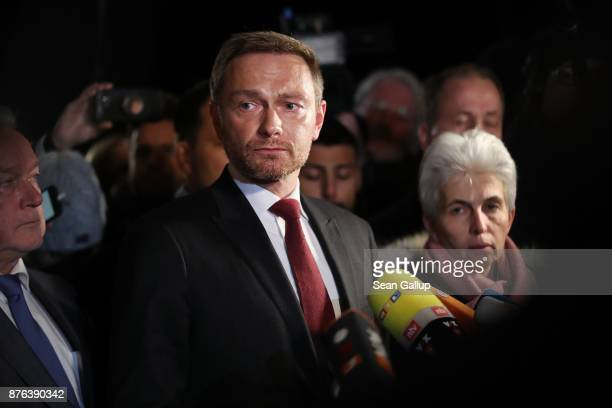 Christian Lindner head of the Free Democratic Party gives a staement to the media following troubled preliminary coalition talks at the...