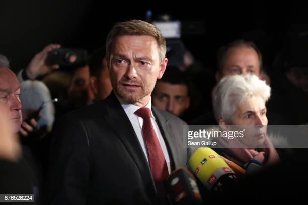 Christian Lindner head of the Free Democratic Party gives a statement to the media following troubled preliminary coalition talks at the...