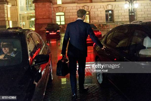 Christian Lindner head of the Free Democratic Party leaves on the last day of preliminary talks over the creation of a new government coalition which...