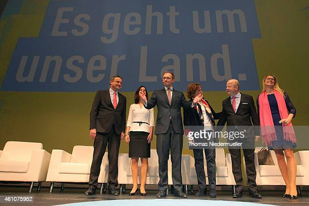 Christian Lindner head of the German Free Democratic Party attends the traditional Epiphany meeting of the German Liberals on January 6 2015 in...