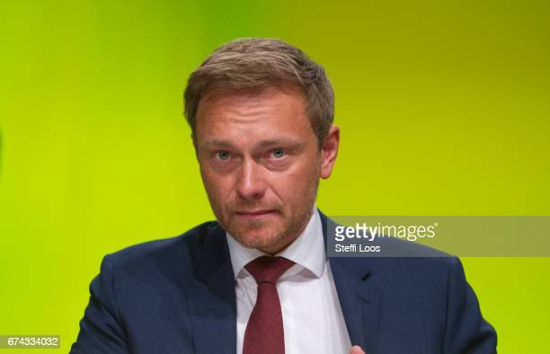 Christian Lindner head of the German Free Democratic Party attends the Federal Congress of FDP Political Party on April 28 2017 in Berlin Germany...