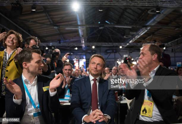 Christian Lindner head of the German Free Democratic Party gets applause after he was elected again for as head of the party at the Federal Congress...
