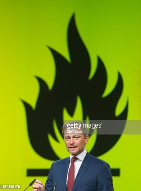 Christian Lindner head of the German Free Democratic Party holds a speech at the Federal Congress of FDP Political Party on April 28 2017 in Berlin...