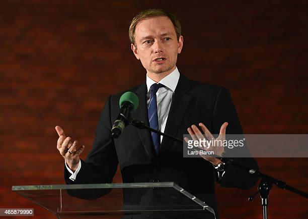 Christian Lindner head of the German Free Democratic Party is seen on the stage at Christuskirche on March 10 2015 in Bochum Germany