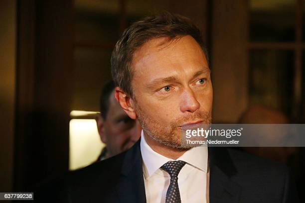 Christian Lindner head of the German Free Democratic Party is seen during the traditional Epiphany meeting of the German Free Democratic Party at the...
