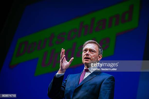 Christian Lindner head of the German Free Democratic Party talks during the traditional Epiphany meeting of the German Liberals at the opera on...