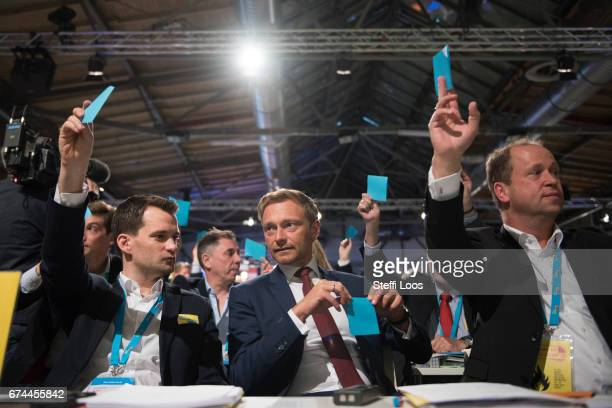 Christian Lindner head of the German Free Democratic Party waits to casts his vote for the head of the party at the Federal Congress of FDP Political...