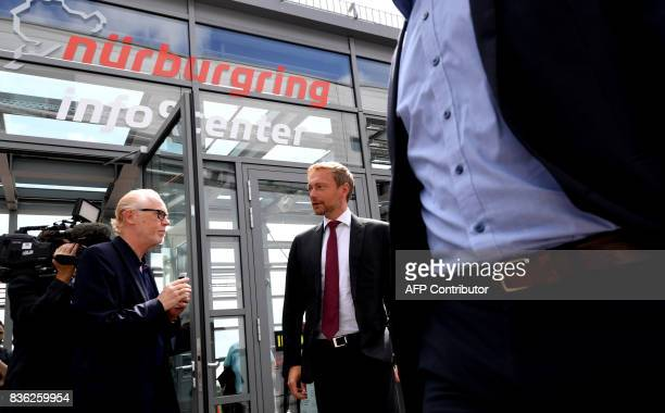 Christian Lindner lead candidate of the German Free Democrats arrives for an election campaign event of the Christian Democratic Union party in the...