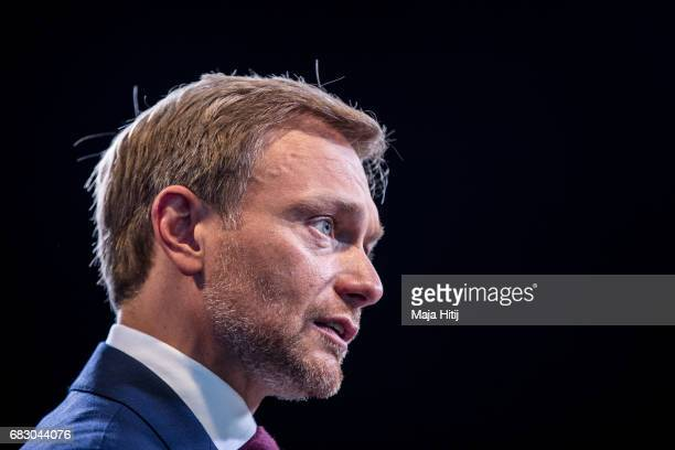 Christian Lindner lead candidate of the German Free Democrats gives a television interview following state elections in North RhineWestphalia on May...