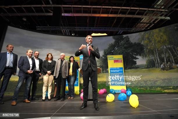 Christian Lindner lead candidate of the German Free Democrats speaks during an election campaign event of the Christian Democratic Union party in the...