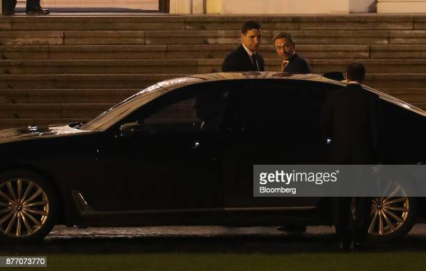 Christian Lindner leader of the Free Democratic Party center departs the Schloss Bellevue Presidential Palace for talks with Germany's President...