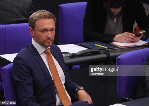 Christian Lindner leader of the Free Democratic Party looks on inside the lowerhouse of the German Parliament in Berlin Germany on Tuesday Nov 21...