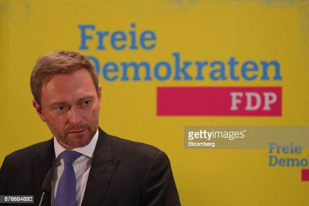 Christian Lindner leader of the Free Democratic Party pauses during a news conference at the FDP headquarters in Berlin Germany on Monday Nov 20 2017...