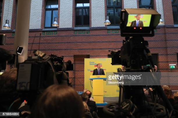 Christian Lindner leader of the Free Democratic Party speaks during a news conference at the FDP headquarters in Berlin Germany on Monday Nov 20 2017...