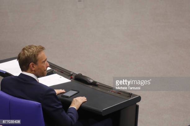 Christian Lindner leader of the Free democrats party or FDP listens during the first session of the Bundestag the German parliament since the...
