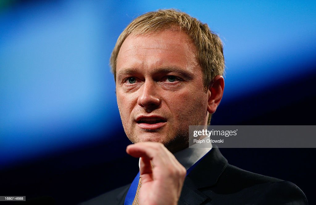 Christian Lindner, member of the board of the German Free Democrats (FDP) political party, speaks at the FDP federal congress (Bundesparteitag) on May 4, 2013 in Nuremburg, Germany. The FDP is the junior partner in the current German government coalition, though its popularity has faltered in recent years and the party is in danger of not receiving the required minimum of 5% of votes to retain seats in the Bundestag in federal elections scheduled for September.