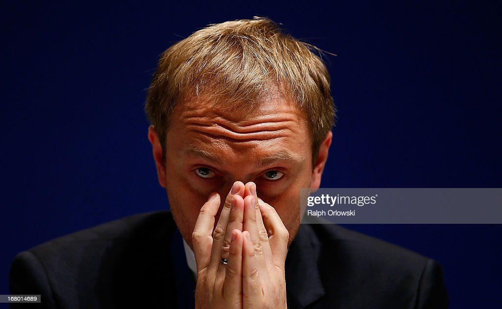Christian Lindner, member of the board of the German Free Democrats (FDP) political party, looks on at the FDP federal congress (Bundesparteitag) on May 4, 2013 in Nuremburg, Germany. The FDP is the junior partner in the current German government coalition, though its popularity has faltered in recent years and the party is in danger of not receiving the required minimum of 5% of votes to retain seats in the Bundestag in federal elections scheduled for September.