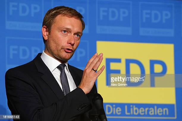 Christian Lindner of the German Free Democrats political party speaks to the media the day after the party which until now was the junior partner in...