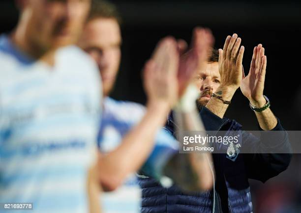 Christian Lonstrup head coach of FC Helsingor applause the fans after the Danish Alka Superliga match between FC Helsingor and OB Odense at Helsingor...