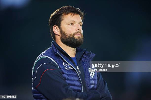 Christian Lonstrup head coach of FC Helsingor looks on during the Danish Alka Superliga match between FC Helsingor and OB Odense at Helsingor Stadion...