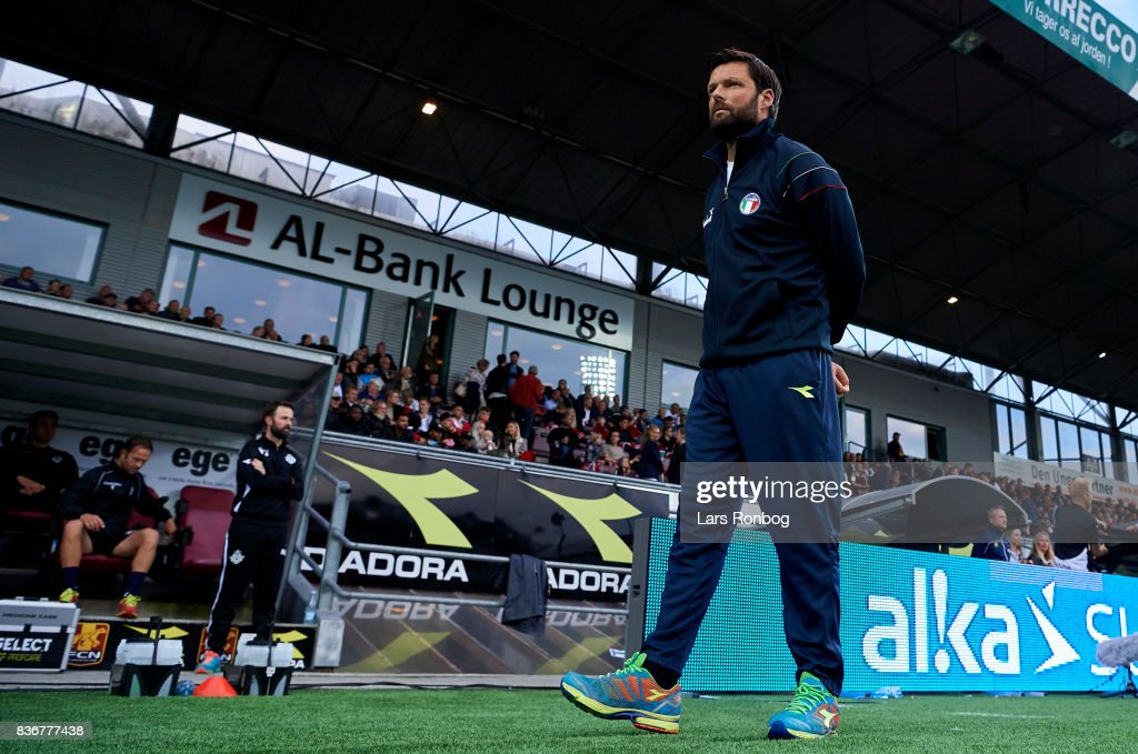Christian Lonstrup, head coach of FC Helsingor waiting for the match to begin prior to the Danish Alka Superliga match between FC Nordsjalland and FC Helsingor at Right to Dream Park on August 21, 2017 in Farum, Denmark.