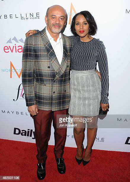 Christian Louboutin and Kerry Washington arrive at The Daily Front Row's 1st Annual Fashion Los Angeles Awards at Sunset Tower Hotel on January 22...