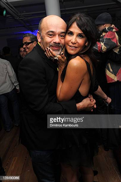Christian Louboutin and Laurie Lynn Stark attend Designer of the Year Dinner hosted by Chrome Hearts for Design Miami at The Moore Building on...