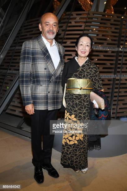 Christian Lauboutin and Setsuko Klossowska de Rola attend 'Etre Moderne Le MoMA A Paris' Exhibition at Fondation Louis Vuitton on October 9 2017 in...