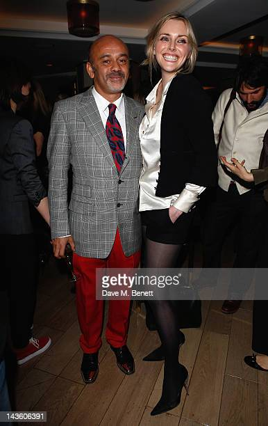 Christian Louboutin and Sophie Dahl attends as French shoe designer Christian Louboutin celebrates the opening of his exhibition at the Design Museum...