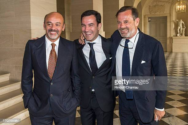 Christian Louboutin Olivier Josse and Louis Benech attend the private visit of the exhibition by Italian artist Giuseppe Penone at Chateau de...