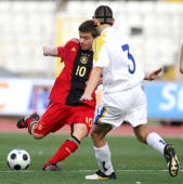Christian Maerz of U16 Germany challenges Andreas Themistocleous of U16 Cyprus during the international friendly match between U16 Cyprus and U16...