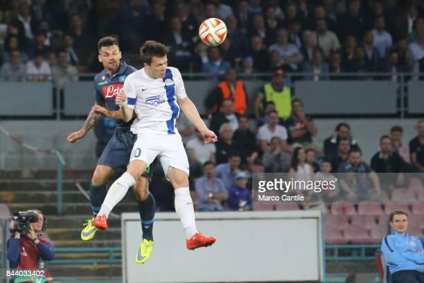 Christian Maggio and Konoplyanka during a football match at San Paolo stadium between Napoli and Dnipro
