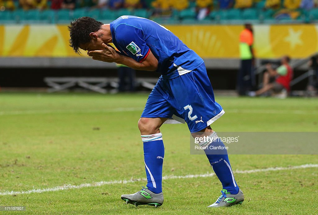 <a gi-track='captionPersonalityLinkClicked' href=/galleries/search?phrase=Christian+Maggio&family=editorial&specificpeople=2131601 ng-click='$event.stopPropagation()'>Christian Maggio</a> of Italy reacts during the FIFA Confederations Cup Brazil 2013 Group A match between Italy and Brazil at Estadio Octavio Mangabeira (Arena Fonte Nova Salvador) on June 22, 2013 in Salvador, Brazil.