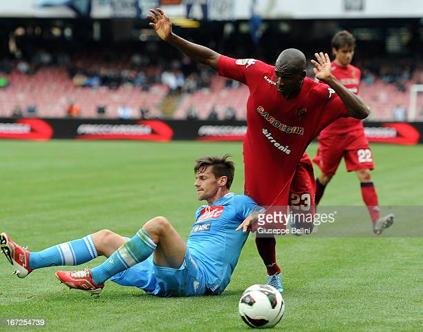 Christian Maggio of Napoli and Victor Ibarbo of Cagliari in action during the Serie A match between SSC Napoli and Cagliari Calcio at Stadio San...