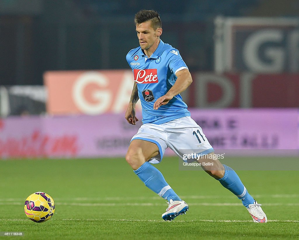 <a gi-track='captionPersonalityLinkClicked' href=/galleries/search?phrase=Christian+Maggio&family=editorial&specificpeople=2131601 ng-click='$event.stopPropagation()'>Christian Maggio</a> of Napoli in action during the Serie A match between AC Cesena and SSC Napoli at Dino Manuzzi Stadium on January 6, 2015 in Cesena, Italy.