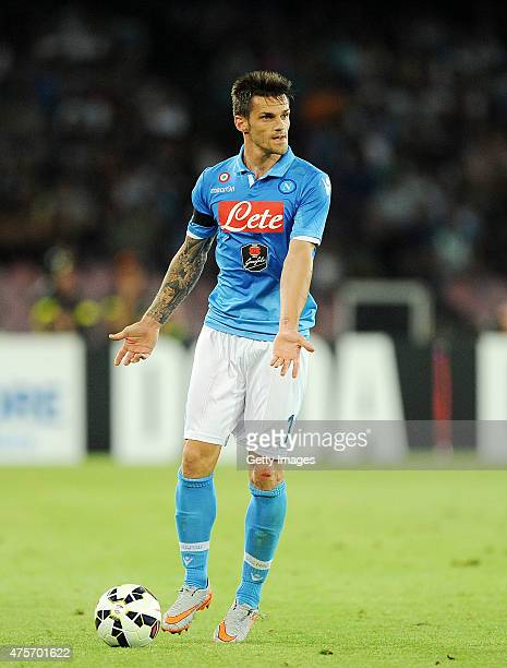 Christian Maggio of Napoli in action during the Serie A match between SSC Napoli and SS Lazio at Stadio San Paolo on May 31 2015 in Naples Italy