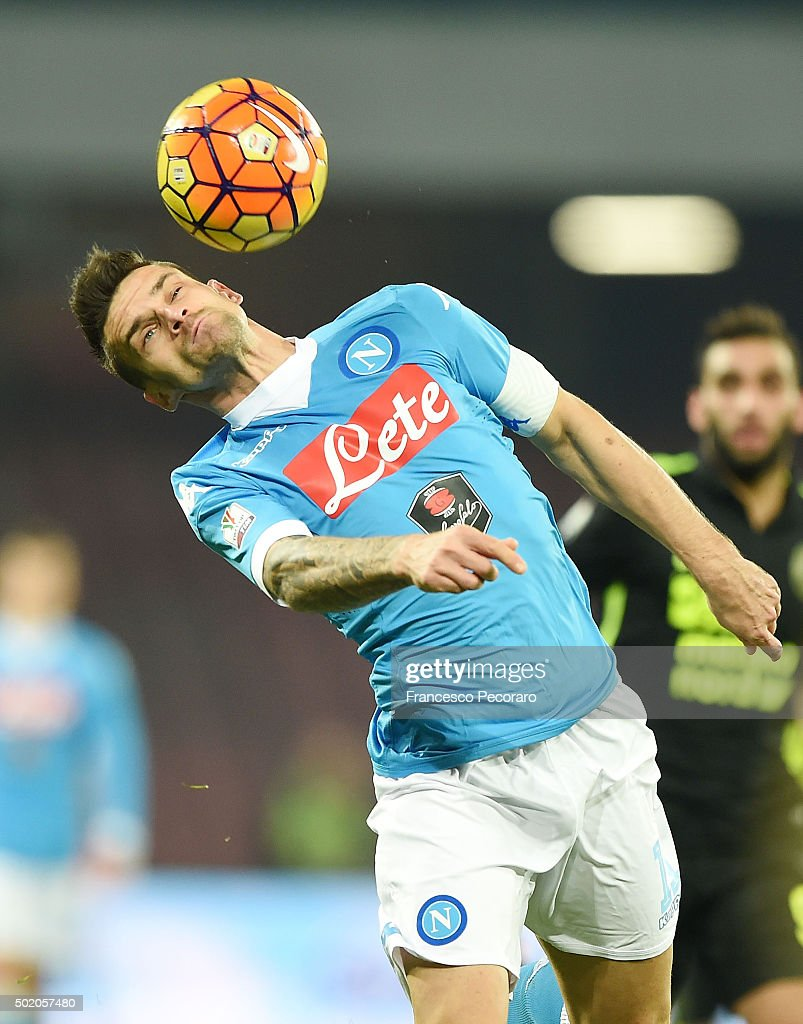 Christian Maggio of Napoli in action the TIM Cup match between SSC Napoli and Hellas Verona FC at Stadio San Paolo on December 16 2015 in Naples Italy