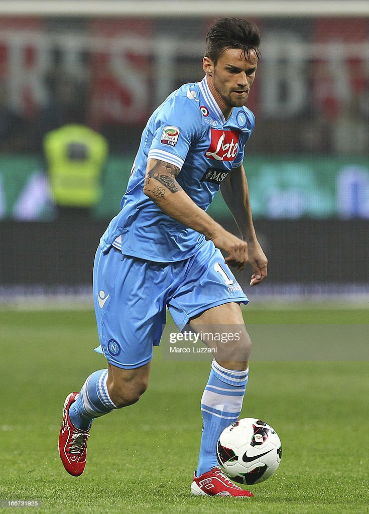Christian Maggio of SSC Napoli in action during the Serie A match between AC Milan and SSC Napoli at San Siro Stadium on April 14, 2013 in Milan, Italy.