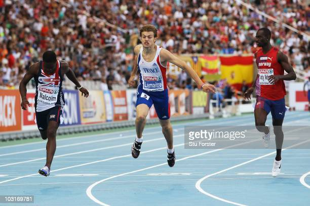 Christian Malcolm of Great Britain Christophe Lemaitre of France and Jaysuma Ndure Saidy of Norway competes in the Mens 200m Final during day four of...