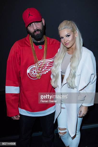 Christian Manazidis and Shirin David attend the premiere for the film 'Bruder vor Luder' at Cinedom on December 20 2015 in Cologne Germany