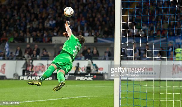 Christian Mathenia makes a save during the first bundesliga match between SV Darmstadt 98 and Hamburger SV at MerckStadion am Boellenfalltor on...