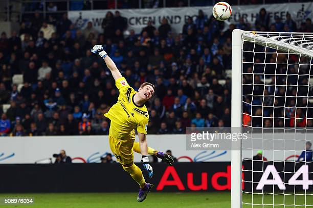 Christian Mathenia of Darmstadt makes a save during the Bundesliga match between 1899 Hoffenheim and SV Darmstadt 98 at Wirsol RheinNeckarArena on...