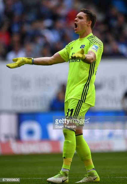 Christian Mathenia of Hamburg encourages the fans during the Bundesliga match between Hamburger SV and 1 FSV Mainz 05 at Volksparkstadion on May 7...