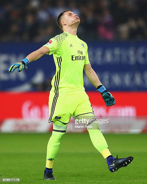Christian Mathenia of Hamburg reacts during the Bundesliga match between Hamburger SV and FC Augsburg at Volksparkstadion on December 10 2016 in...