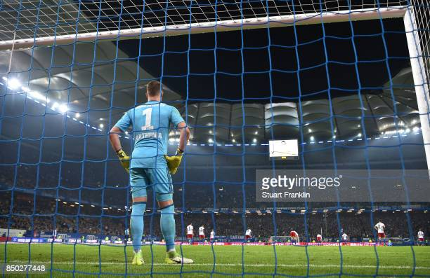 Christian Mathenia of Hamburg stands after Christian Pulisic of Dortmund scored Dortmunds third goal to make it 30 during the Bundesliga match...