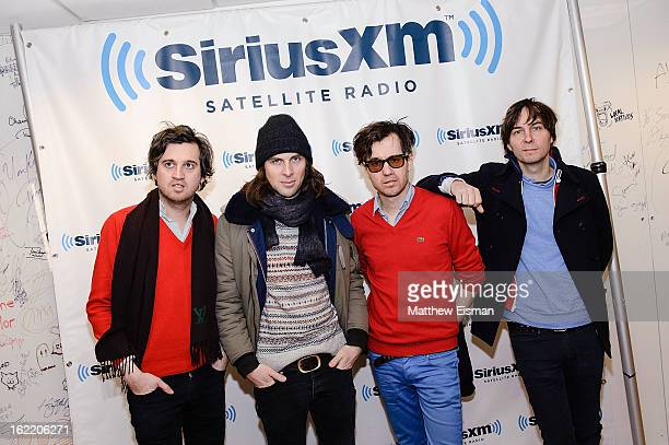 Christian Mazzalai Deck d'Arcy Laurent Brancowitz and Thomas Mars of the band Phoenix visit SiriusXM Studios on February 20 2013 in New York City